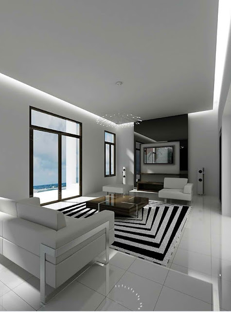 Idee deco noir et blanc salon maison design for Decoration salon blanc et noir