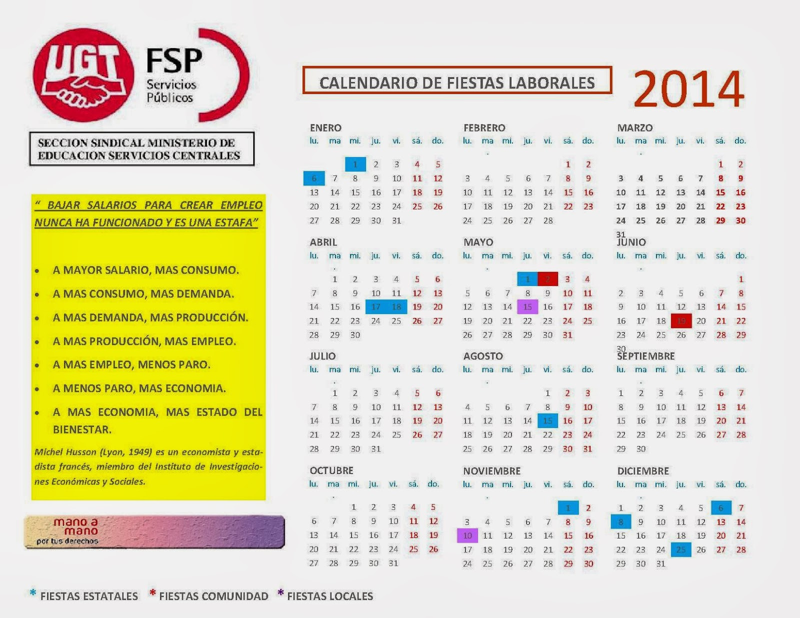 Seccion sindical ugt educacion for Calendario eventos madrid