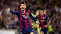 Leo Messi celebrates one of two goals