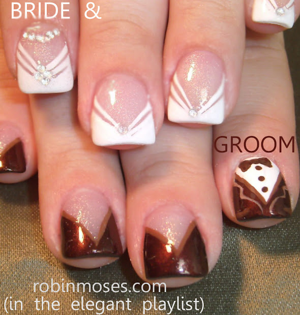 wedding nails white butterfly