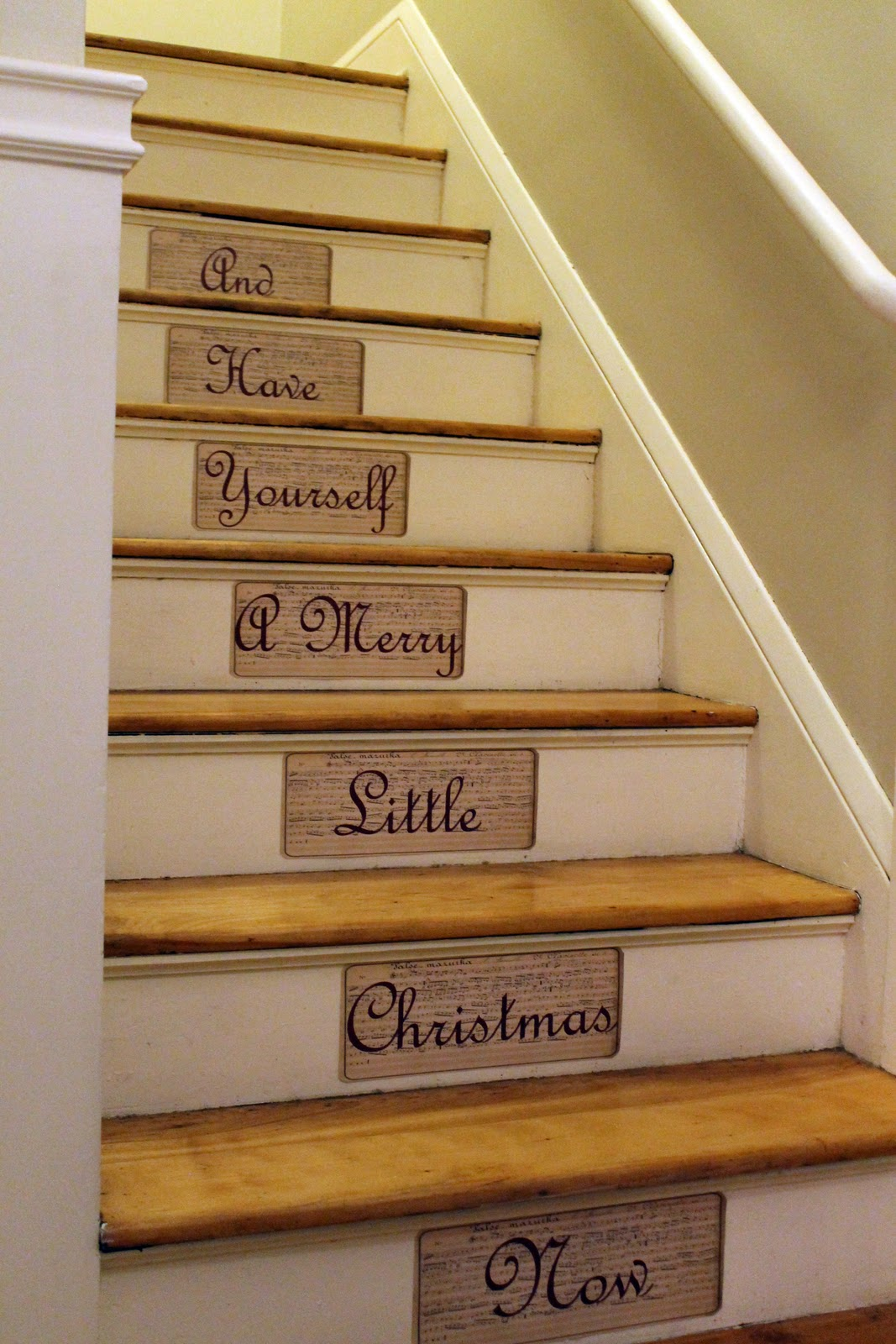 Hammers and high heels a merry message along our staircase - Stair riser decoration ideas ...