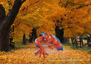 Spiderman desktop Wallpaper Super Hero Climbing in Autumn Trees Desktop wallpaper