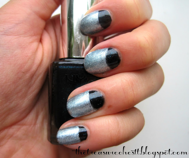 nyx robotic w7 blue mirror half moon nails
