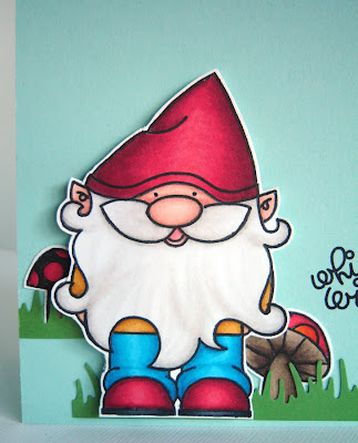 Mr gnome mushrooms and clouds were sted on papertrey ink s