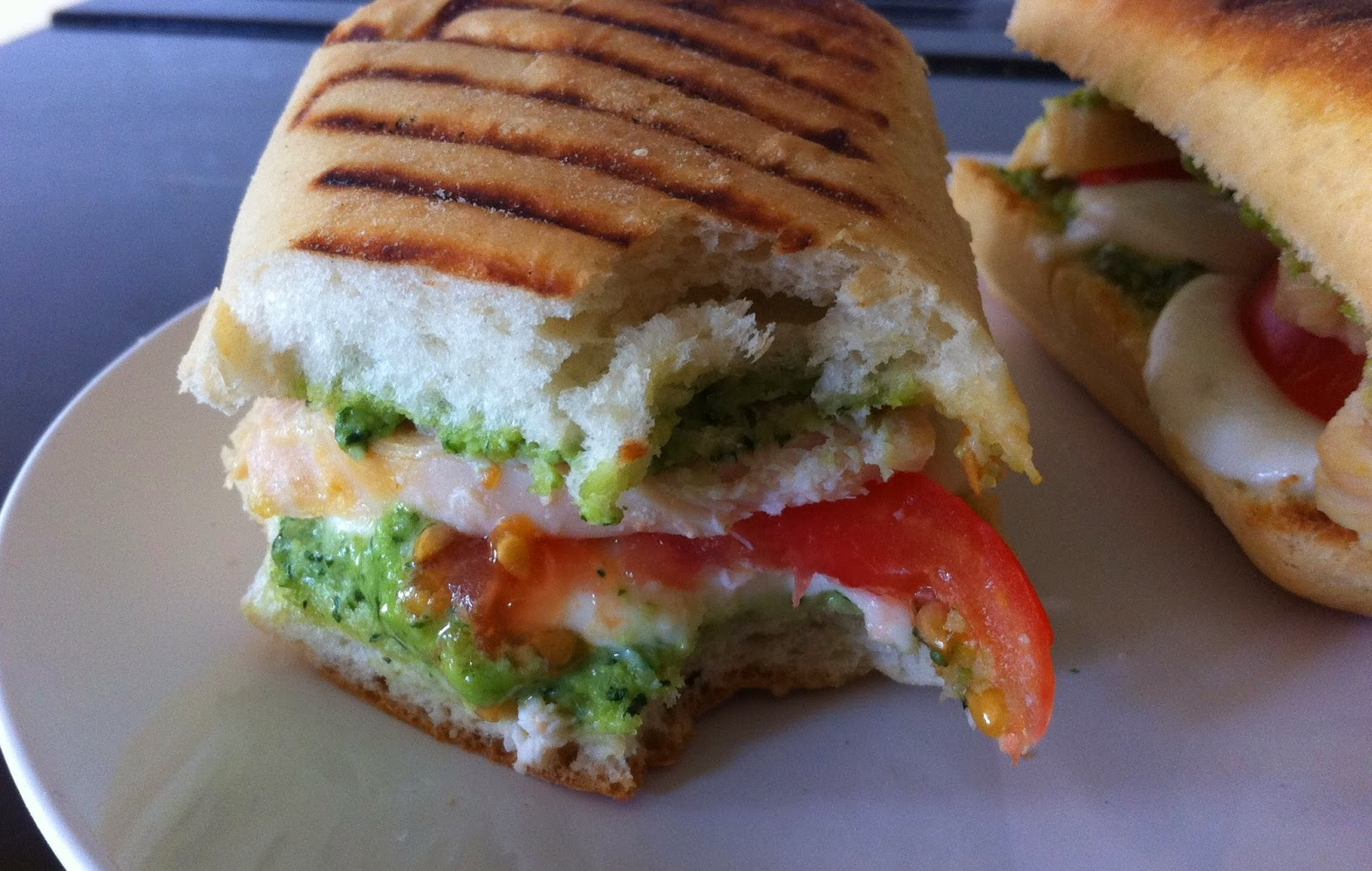 Chicken, Mozzarella and Pesto Panini on a plate