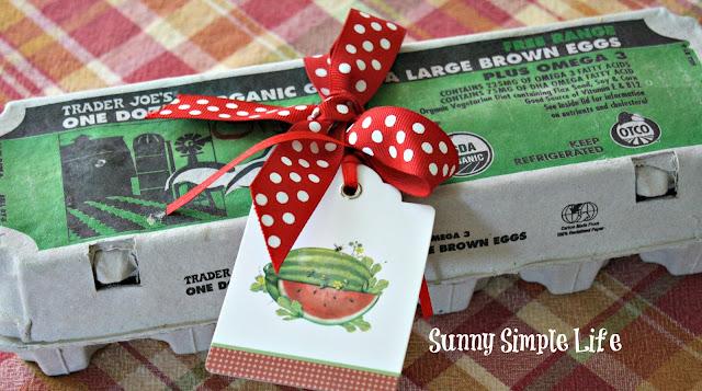 charming egg carton with ribbon, fresh eggs