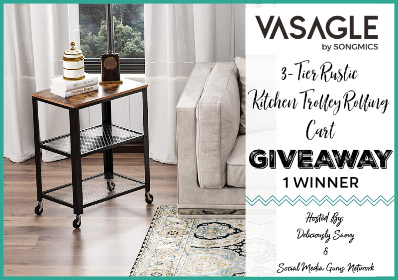 Visagle Kitchen Trolley Rollaway Cart Giveaway