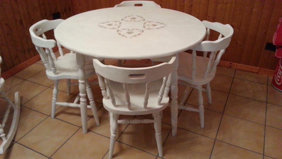 My country corner tavolo e 6 sedie in ciliegio stile old america trasformati in stile shabby - Tavolo e sedie shabby ...