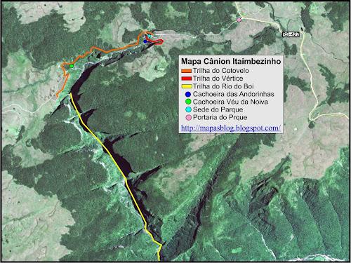 Mapa das trilhas do Cânion Itaimbezinho - Cambará do Sul - RS