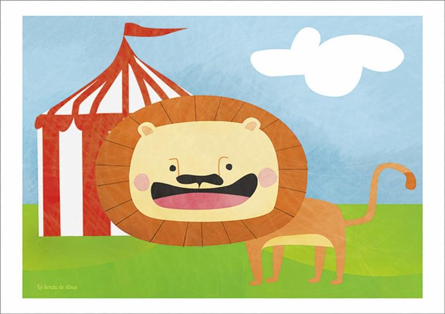 lamina para niños león en el circo