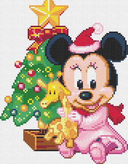 Minnie bebé, para punto de cruz, Navidad.