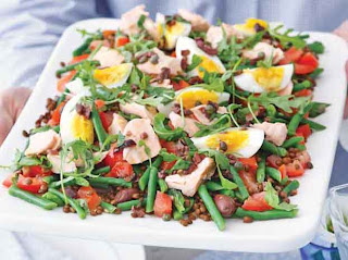 Salmon and Puy lentil salad with olive dressing