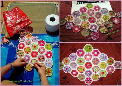 Centro tavola African Granny, tecnica con l'uncinetto, filo Cablè 5 vari colori, tempo di lavorazione 10 minuti