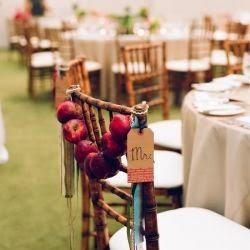 décoration DIY pour mariage d'automne et d'hiver . Chaise en bois et guirlande de pommes rouge , belle décoration de mariage aux couleurs de l'automne