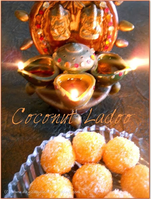 step by step instructions for making coconut ladoo diwali dessert