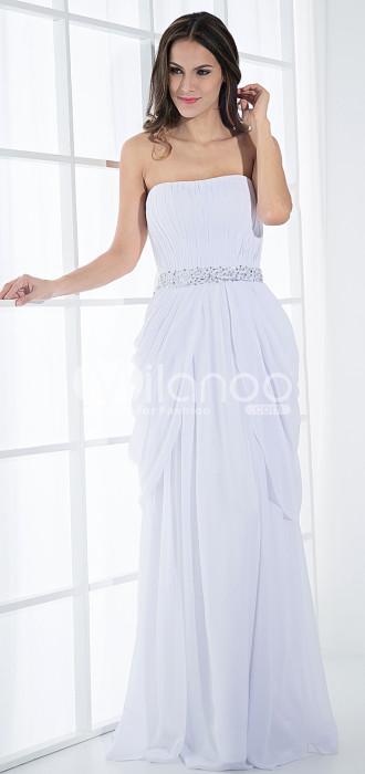 Slim taille empire sweetheart bretelles perles satin robe en mousseline de soie soir Maxi