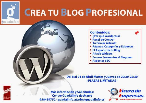 Cartel del Curso Creación de Blog con Wordpress para Empresas en el Centro Guadalinfo de Atarfe