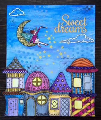 Mixed media, whimsical house, fairy