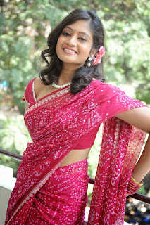 Sandeepthi in Red Saree Red Blouse at Sri Vasavi Kanyaka Parameswari movie press meet