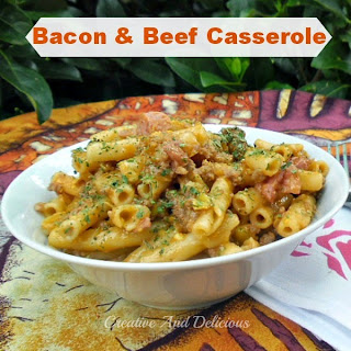 Bacon and Beef Casserole ~ a Rich, delicious tomato double meat pasta casserole