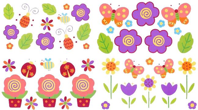 Pegatinas de flores para imprimir for Pegatinas decorativas para bebes