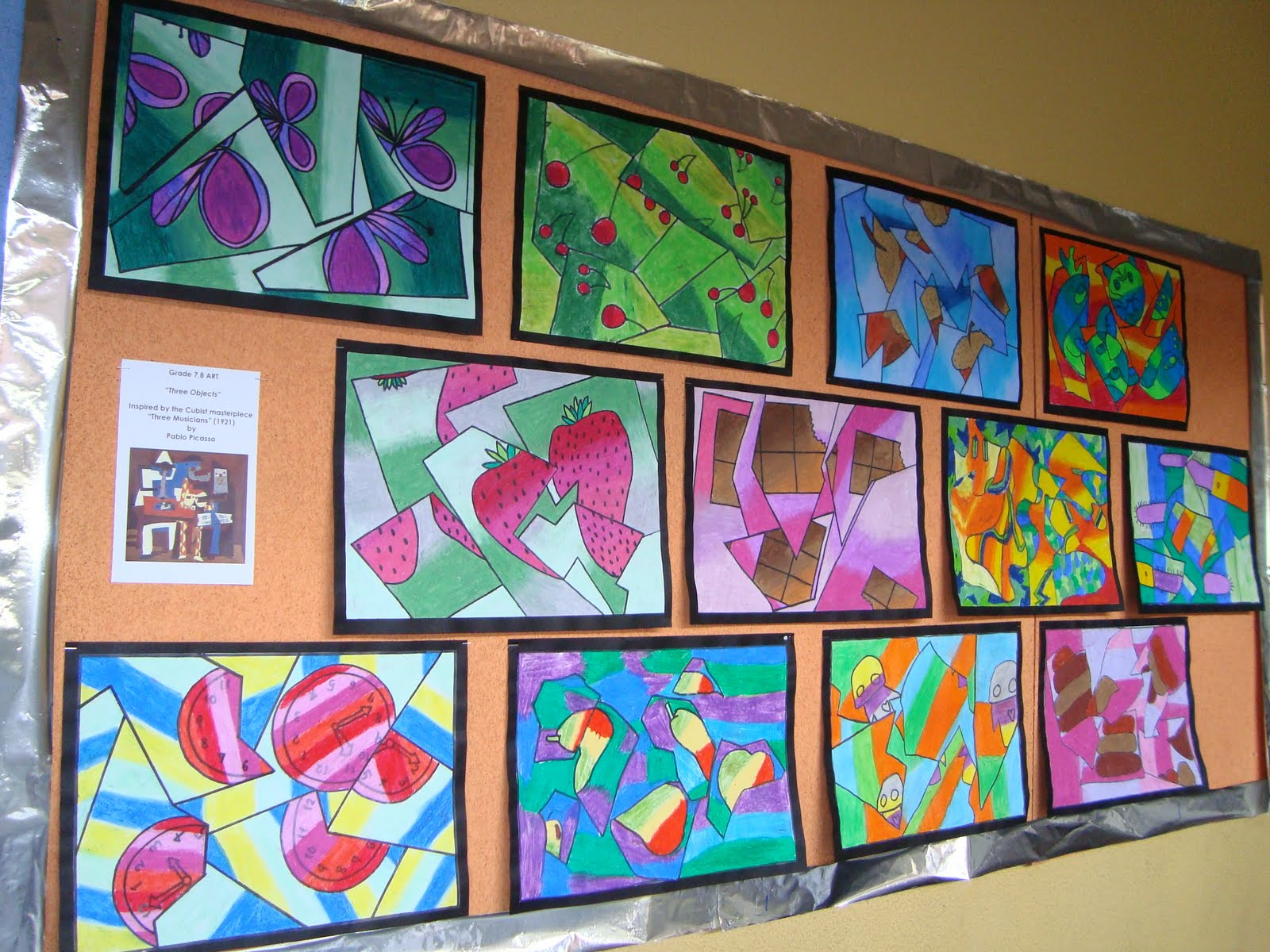 Art Lessons : A faithful attempt fractured cubist oil pastel drawings