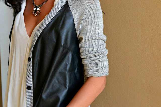How to rock edgy chic, how to wear the leather trend, Edgy chic for moms, Target Vegan Leather Sweater, J.Crew jeweled pendant necklace