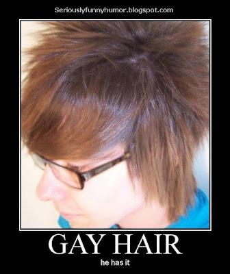 Gay hair - he has it! Funny meme