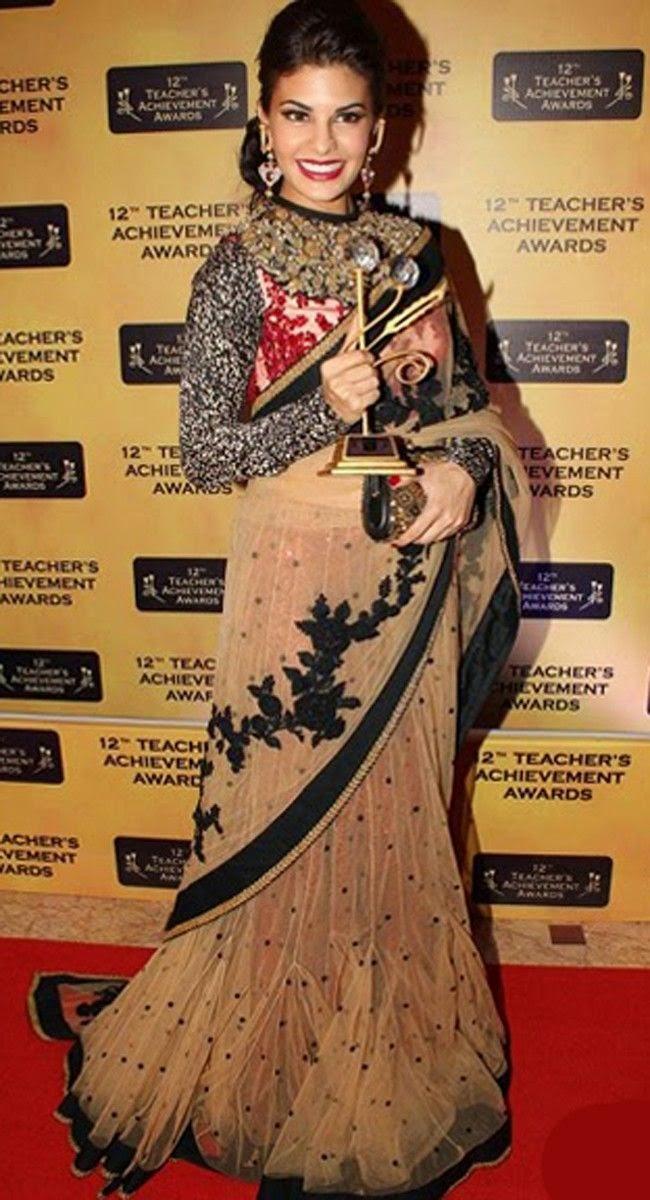 Jacqueline Fernandez Bollywood Beautiful Replica Brown Fish Cut Lehenga