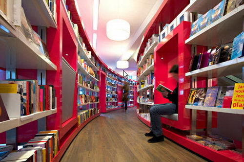 Paagman the Contemporist Bookstore Reading Area Design, Bookstore Design, Contemporist Bookstore Design, Unique Bookstore Design, Simple Bookstore Design, Interior Design, Simple Library Design, Contemporist Library Design, Contemporist Design, Design
