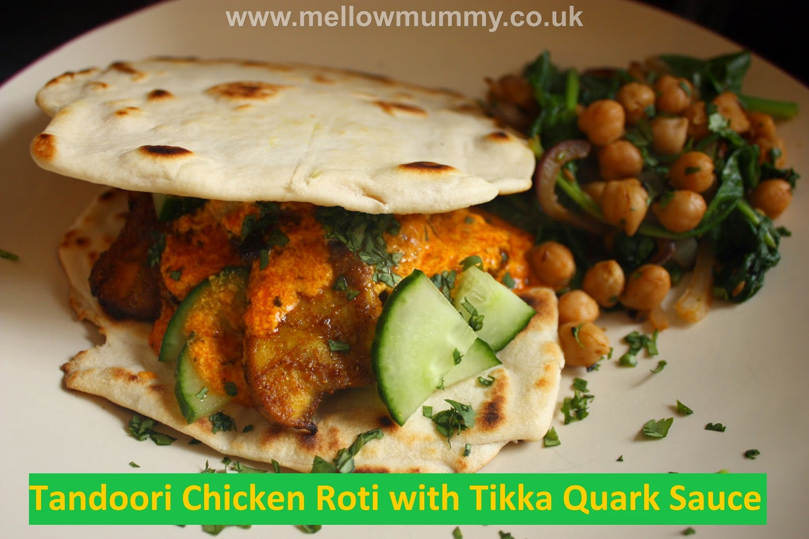 Tandoori chicken roti with Tikka quark sauce