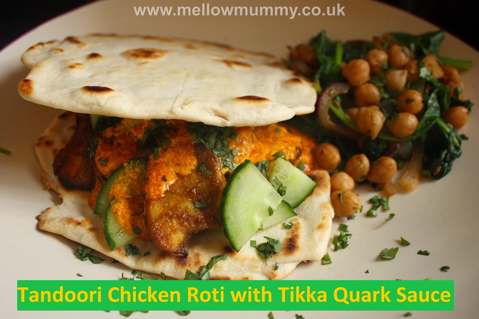 Tandoori chicken roti with Tikka quark sauce