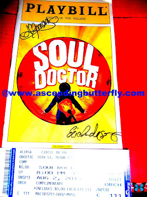 Soul Doctor Playbill signed by Eric Anderson who portrays Shlomo (signature on bottom right) and Amber Iman who plays Nina Simone (signature on top left)