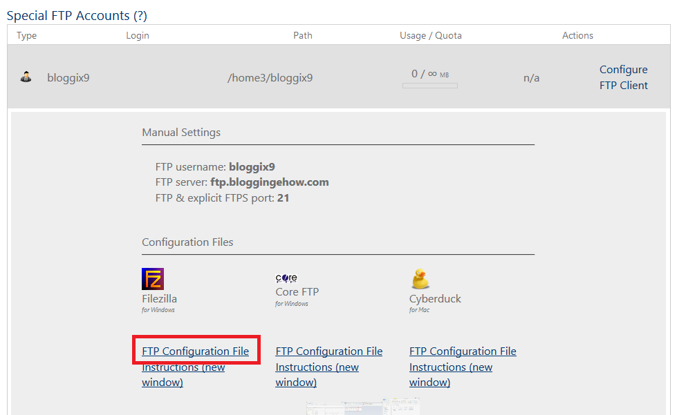 ftip client configuration file download