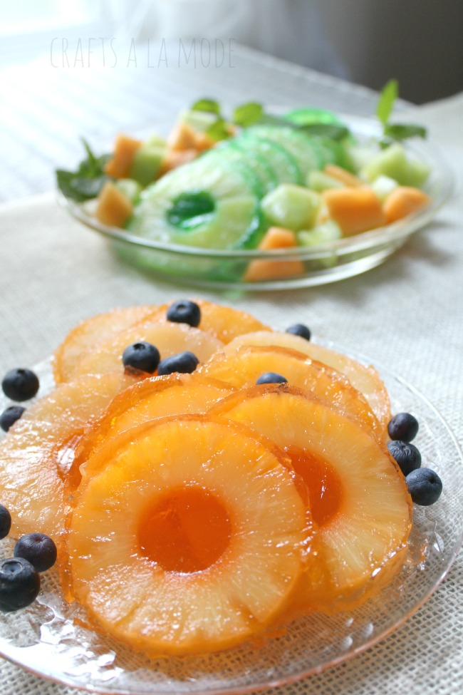 blueberries and pineapple slices with Jello
