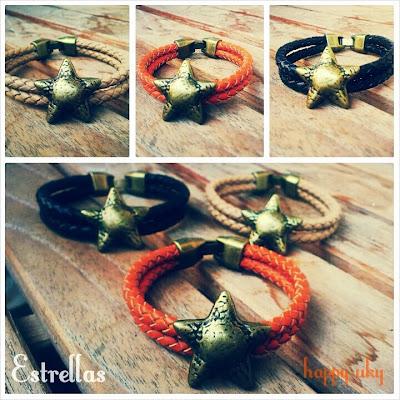 happy uky pulseras cuero handmade estrellas marron naranja dorado