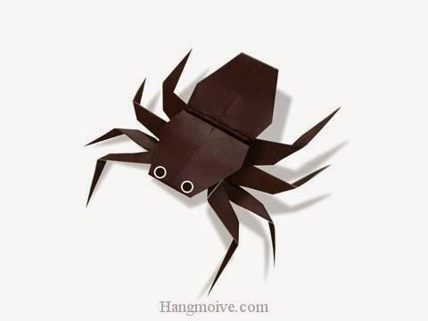 Cách gấp, xếp con Nhện bằng giấy origami - Video hướng dẫn xếp hình côn trùng - How to fold a Spider