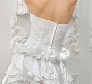 Blanc Sweetheart bretelles A-ligne de front de fendage perles robe de mariée Net