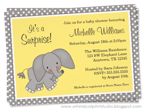 Whimsical print studio blog yellow elephant gender neutral baby these adorable yellow and gray elephant baby shower invitations are perfect for a gender neutral baby shower a sweet baby elephant illustration and gray filmwisefo Choice Image