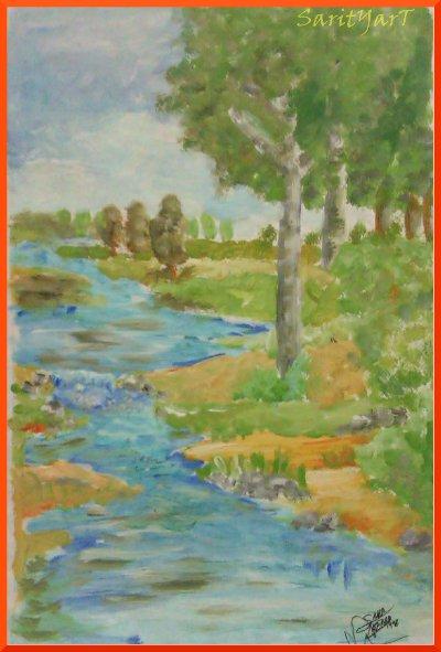 pasaje, cuadro pintado con tempera