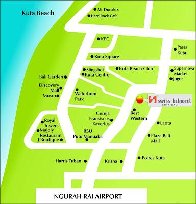 Peta lokasi Swissbel Hotel Kuta