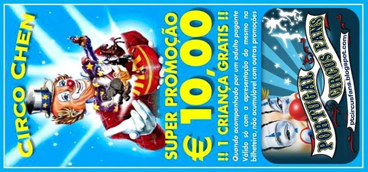 Bilhete Promocional Circo Chen / Portugal Circus Fans
