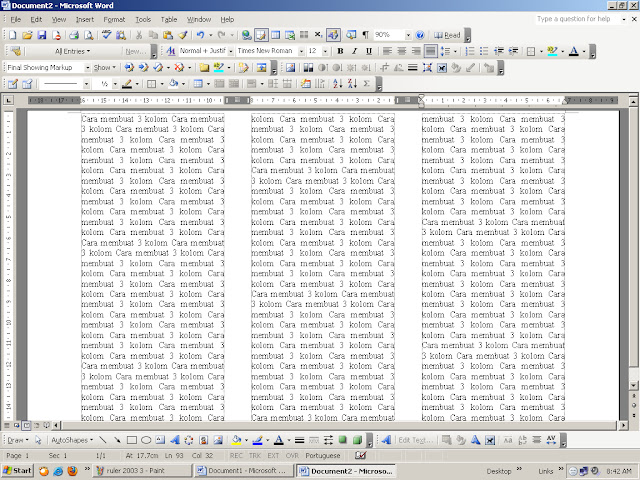 how to change columns in word 2003