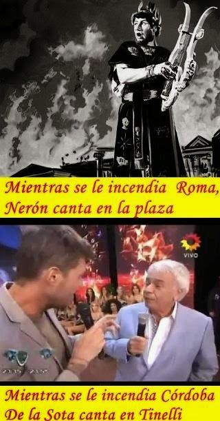 De la Sota cantando en Tinelli mientras Córdoba se le incendia en corrupción estatal.