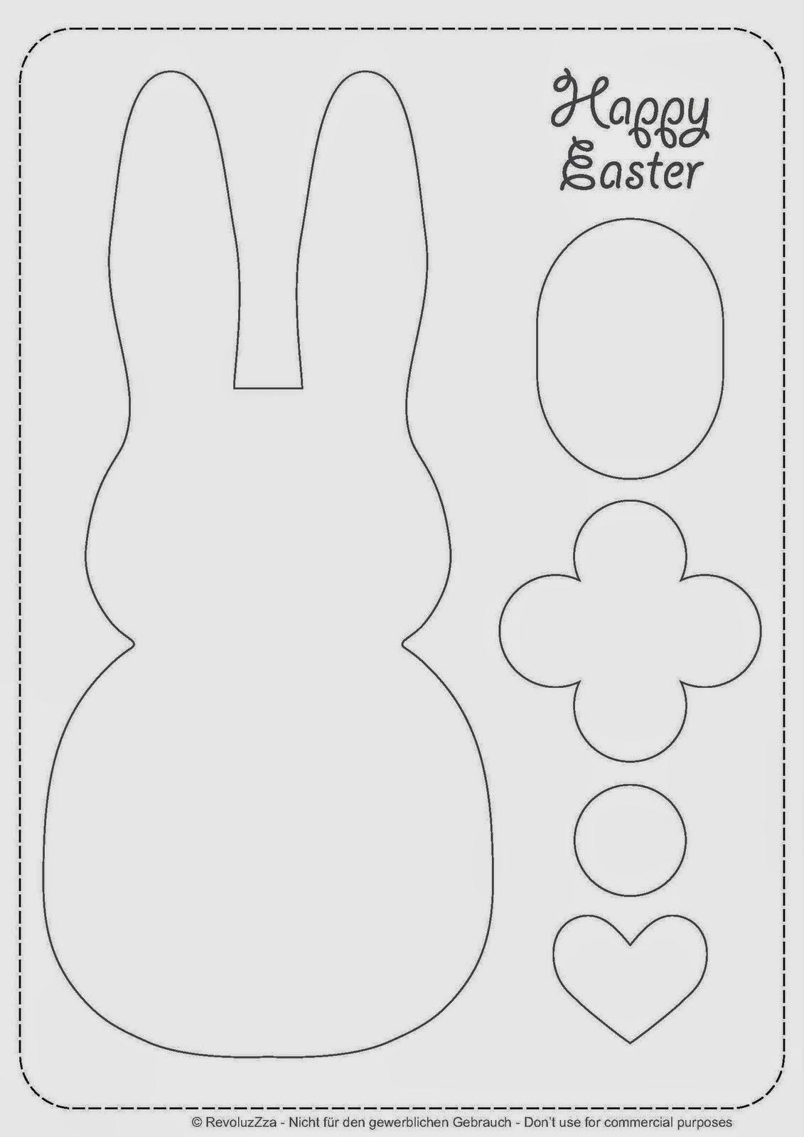 Coelhinhos diferentes de tecido com moldes