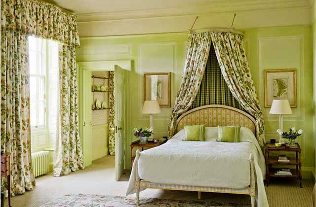 Georgian style homes and interior, fresh bedroom paint color, classic curtains and canopy bed