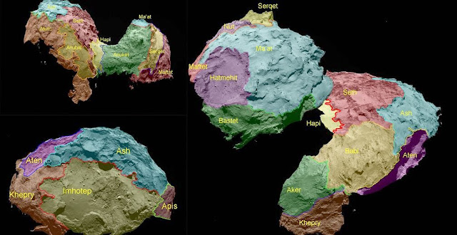 Various viewing angles for 67P/Churyumov-Gerasimenko with overlain colorized regions. The regions have been named using ancient Egyptian gods and goddesses in accordance with the ancient Egyptian naming theme agreed for the mission. Credit: Sciencemag.org