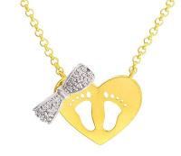 Gargantilha folheada a ouro 18k   Em formato de coração com pezinhos e lacinho Cravejada com zircônia e detalhe em ouro branco