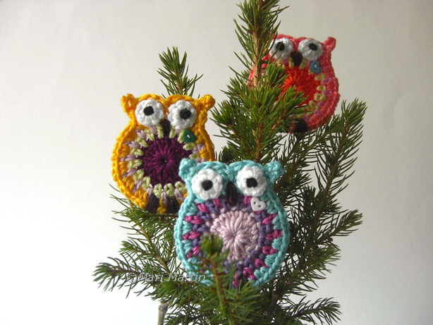Crochet Owl Applique Pattern