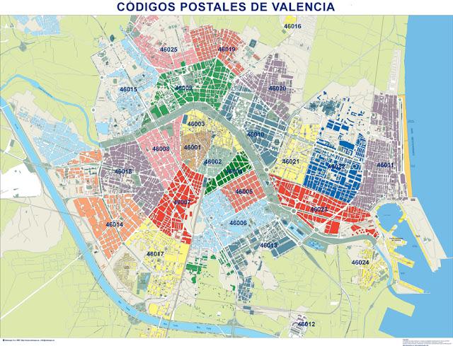 Calles de valencia c digos postales de valencia for Codigo postal calle salamanca valencia